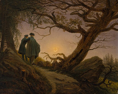 "Caspar David Friedrich, ""Two Men Contemplating the Moon,"" ca. 1825-30. Oil on canvas. © The Metropolitan Museum of Art"