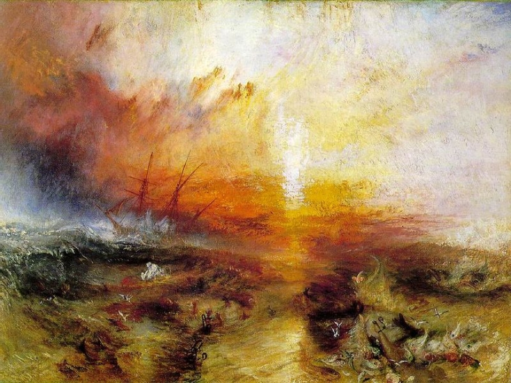 """The Slave Ship"" or ""Slavers Throwing overboard the Dead and Dying—Typhoon Coming on.""  J.M.W. Turner, 1840.  Museum of Fine Arts, Boston."