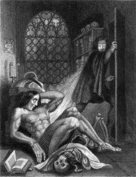 Frontispiece of the 1831 edition of Mary Shelley's Frankenstein; engraving by Theodor M. von Holst.  Private Collection/Bridgeman Art Library.