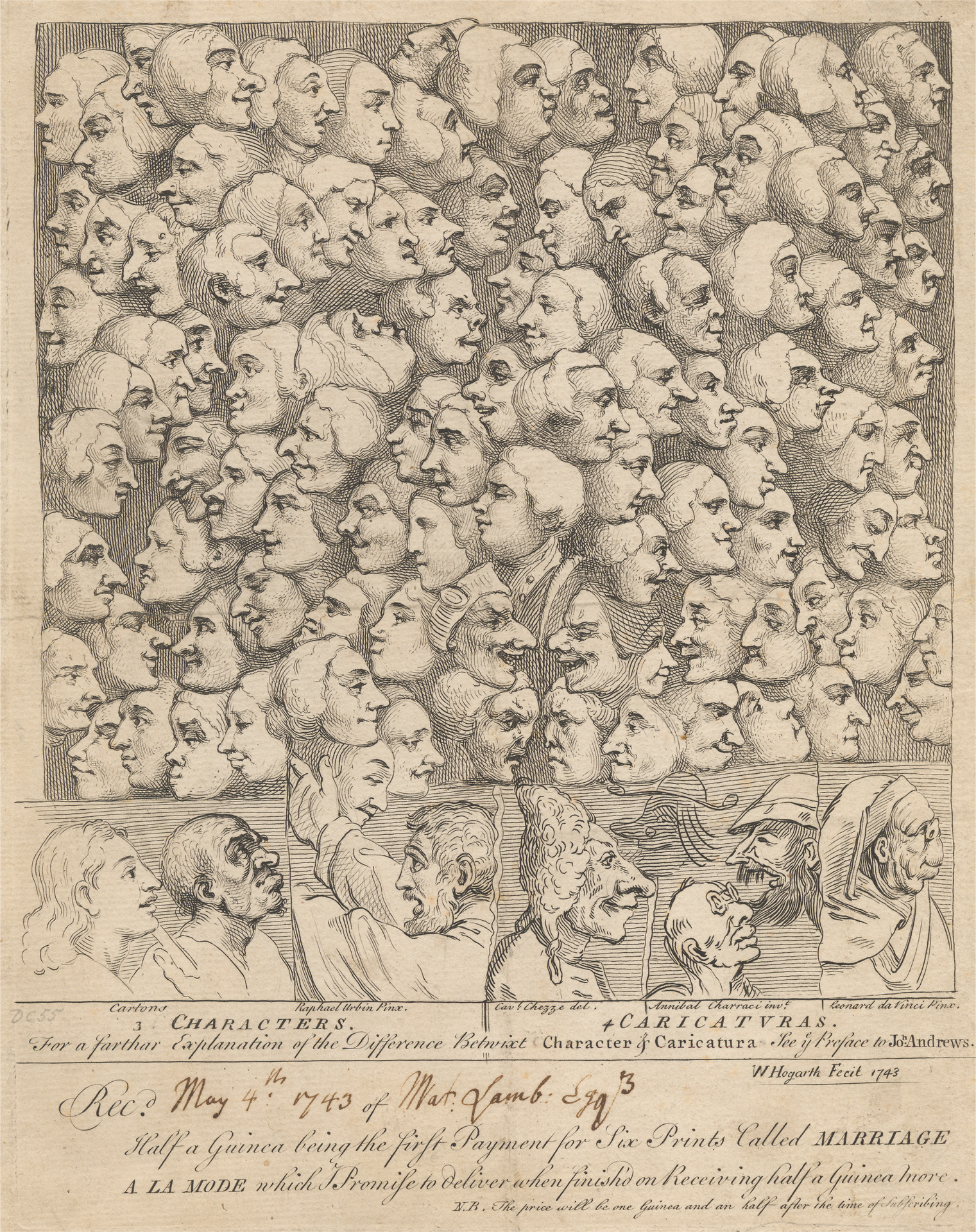 Characters and Caricatures:  subscription ticket for 'Marriage à la Mode' (1743).  William Hogarth.  Yale Center for British Art, Yale Art Gallery Collection, Gift of Chauncey B. Tinker, B.A.  1899.