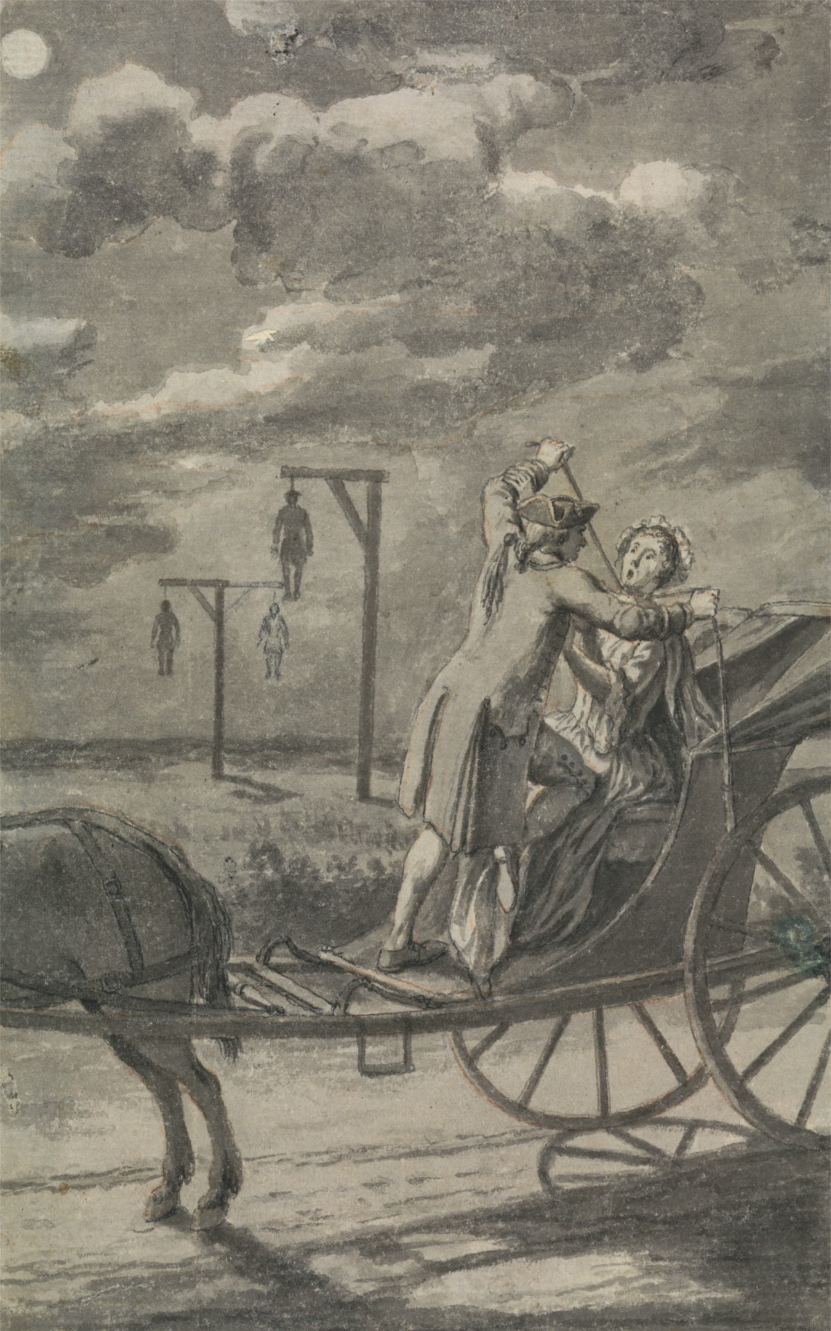 Murder in the Carriage (Probably a Design for The Tyburn Chronicle) by Samuel Wale, 1721-1786, British