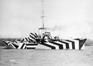 Figure 5: Gunboat HMS Kildangan in dazzle camouflage, 1918.  Imperial War Museum, London.  Printed in Forbes, Dazzled and Deceived.