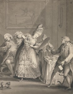 "Samuel Hieronymus Grimm, ""The English Lady at Paris"" (1771).  Gray wash with black ink over graphite on medium, slightly textured, cream laid paper.  Sheet: 12 1/2 x 9 5/8 inches (31.8 x 24.4 cm).  Inscribed in gray ink, lower left: ""S H Grimm fecit 1771""; in gray ink, center right: ""To Alderman 
