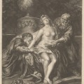 "Jacob Gole's Susanne, surprise dans le bain par les deux vieillards.  Mezzotint on medium, slightly textured, cream laid paper.  Sheet: 10 7/16 x 7 11/16 inches (26.5 x 19.5 cm) Plate: 10 x 7 3/16 inches (25.4 x 18.2 cm) Image: 9 5/16 x 7 1/8 inches (23.6 x 18.1 cm).  Inscribed in graphite, on back, lower center: ""405""; on back, lower right: ""27431"", Lettered in black ink, lower left: ""Ces deux infames scelerats 