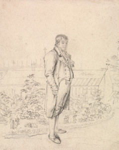 Joseph Slater, active 1803–died 1847. A Sketch of Sir Walter Scott in a Garden (undated).  Yale Center for British Art, Paul Mellon Collection.