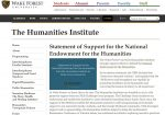 Statement of Support for the National Endowment for the Humanities
