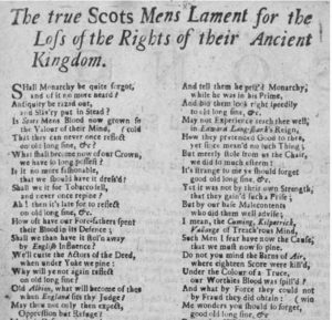 An image of the printed broadside The True Scots Mens Lament