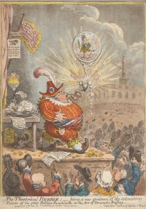 Print made by James Gillray, 1757–1815, British, Published by Hannah Humphrey, ca. 1745–1818, British, The Theatrical Bubble: Being a New Specimen of the Astonishing Powers of the Great Politico-Punchinello, in the art of Dramatic Puffing, 1805, Etching and aquatint, hand-colored on moderately thick, slightly textured, beige wove paper, Yale Center for British Art, Paul Mellon Fund, B1976.1.143